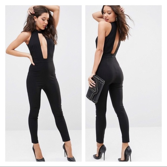 7c3f52275ca ASOS cutout fitted black jumpsuit